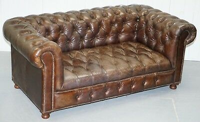 Rrp £2599 Rare Halo Heritage Leather Chesterfield Button Base Two Seater Sofa 2