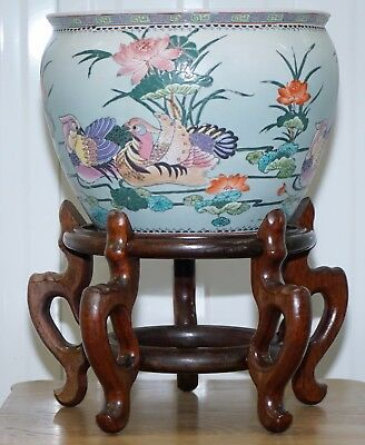 Chinese Qing Dynasty Porcelain Jardiniere Planter On Stand Koi Carp Signed Base