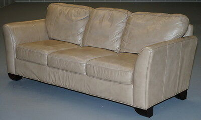 Tan Cream Brown Leather Three Seater Sofa Hand Made In Italy Very Comfortable