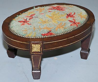 Rare 18Th Century Very Small Circa 1780 Georgian Sheraton Embroidered Footstool