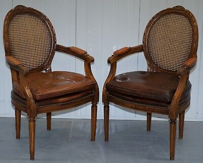 Pair Of Vintage Dutch Hand Made Brown Leather And Rattan Occasional Armchairs