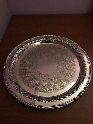 "Vintage Wm Rogers & Son 162 Silverplate 12 1/4"" Round Tray serving plate 1960's"