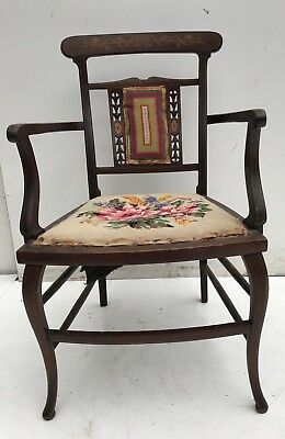 Victorian-Edwardian Inlaid Mahogany Arm-Side-Hall Chair Tapestry Seat And Back