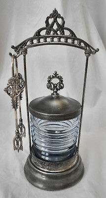 Atq cEarly 1900's CROWN S.P. Victorian Slv Plate Pickle Caster Blue Glass wTongs