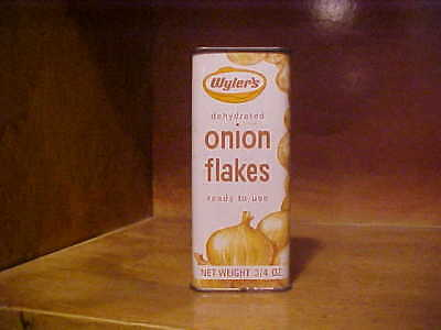 scarce vintage Wyler's ONION FLAKES spice tin w/bunch of onions pictured Bordens