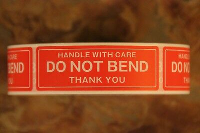 """100 Brand New 1""""x 3"""" """"Handle with Care DO NOT BEND Thank you"""" Shipping Labels!"""