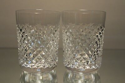 (2) Two Waterford Crystal Alana 5oz Juice Cordial Tumblers MINT signed