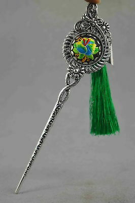 Collectable Handwork Old Miao Silver Carve Souvenir Bring Happiness Rare Hairpin