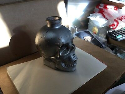 Old Cork Glass Bottle Painted Figurative Skull No Reserve