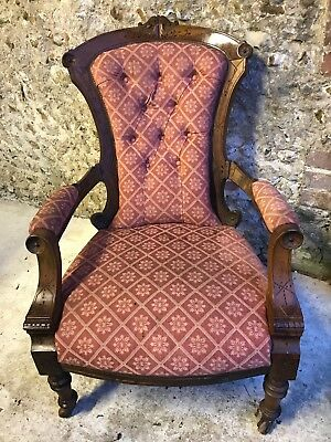 Antique Carved Deep Button Re-Upholstered Armchair
