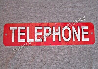 Metal Sign TELEPHONE public pay coin vintage replica phone booth prop red #3