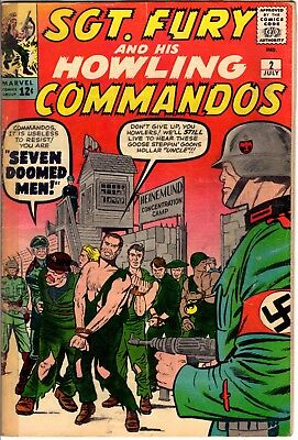 Sgt. Fury and his Howling Commandos #2 July 1963 Marvel Jack Kirby art Fa/G tos