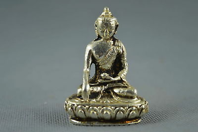 Collectible Handwork Miao Silver Carve Vivid Buddha Pary Noble Exorcism Statue