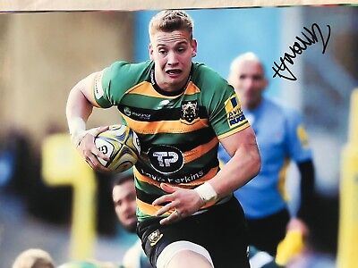 Harry Mallinder Hand Signed A4 Photo Northampton Saints England Rugby