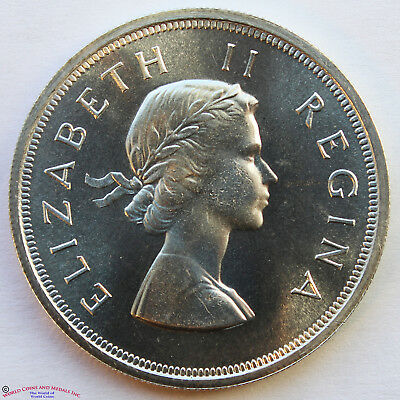 South Africa 1955 Proof Silver 5 Shillings. Km-52.