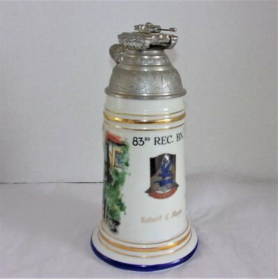 VINTAGE U.S. ARMY 83rd ARMORED RECON BATTALION LIDDED BEER STEIN - GERMANY