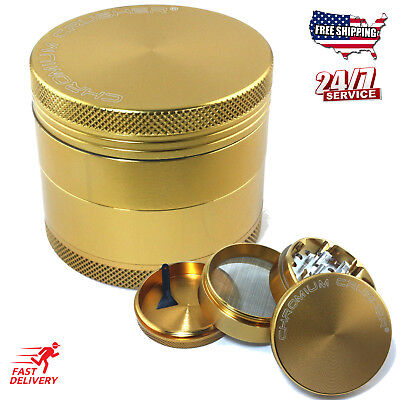 Magnetic Tobacco Grinder Aluminum Herb/Spice Crusher 4 Piece - Gold New!