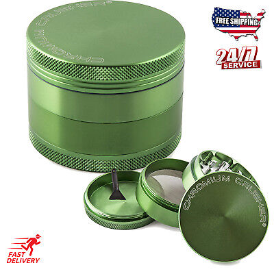 Magnetic Tobacco Grinder Aluminum Herb/Spice Crusher 4 Piece - Green