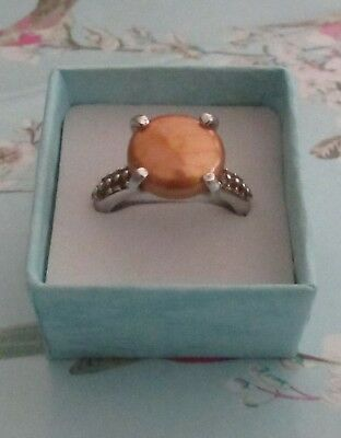 Honora pearl and citrine sterling silver ring QVC, size  R/S