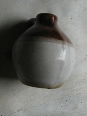 411Th-1 Brown & White Stoneware Jug About 2.75 Inches In Height