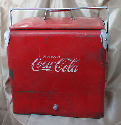 Vtg Coke Coca Cola Cooler Ice Chest Action '46 Eastern Steel 1-52 Drain Original