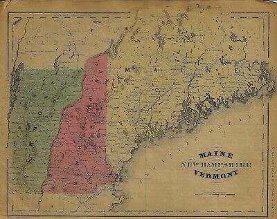 "McNally Map - ""MAINE, NEW HAMPSHIRE, VERMONT"" - Colored Lithograph - 1865"