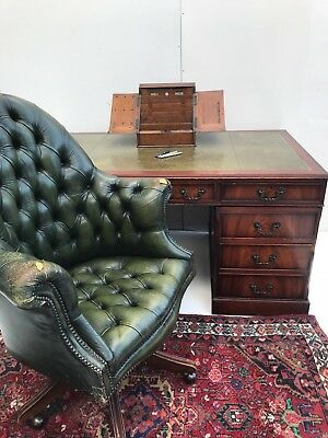 Mahogany Antique Style Pedestal Desk With A Leather Chesterfield Chair