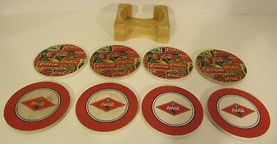 Coca-Cola Ceramic Coaster two matching sets of four with holder. used.