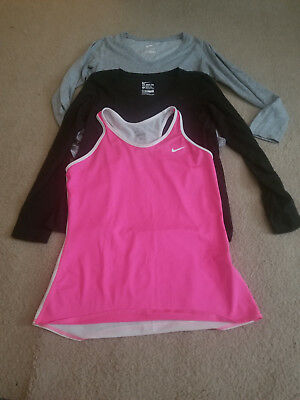 Lot Of 3 Nike Womens Tops Size Large L Gray Pink White Black