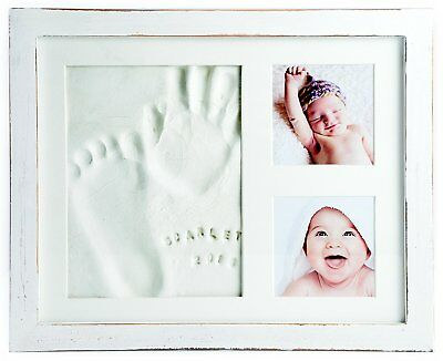 Baby Handprint Kit and Footprint with Clay and Name Stamps (White)