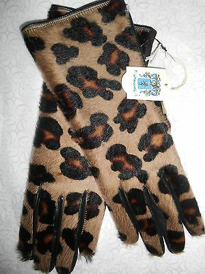 Portolano Women Leather Pony Calf Hair Gloves Silk Leopard Fur Black Italian Xs
