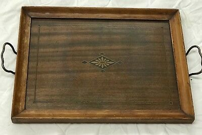 Vintage Royal Rochester Wood Brass Glass Tray Inlaid Wood?  011651