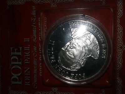Pope John Paul II Commemorative Coin Silver Plated - 2005 Edition