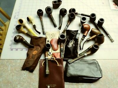 Lot Of 19 Vintage Estate Tobacco Smoking Pipes With extras /Buttner, cases pouch