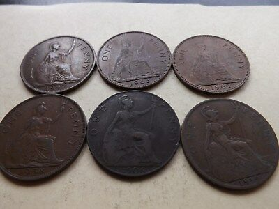 UK - England - Great Britain Penny Mix Lot Of 6 Coins LOT-71-QQ