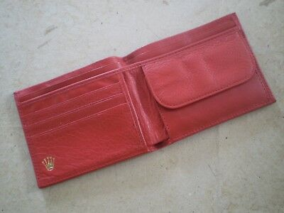 Vintage Red Leather Rolex Bi-Fold Wallet 0060.02.34