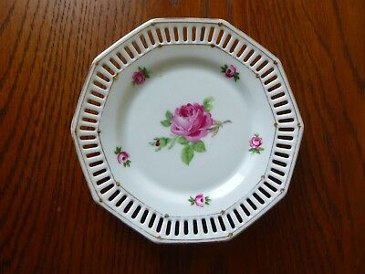 Small Reticulated Plate, Schumann of Bavaria, Pink Rose