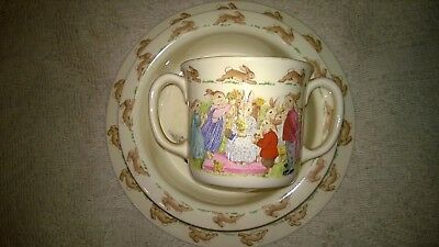 Royal Doulton Fine Bone China Child's Bunnykins Set:  Plate-2 Handled Cup-Bowl.