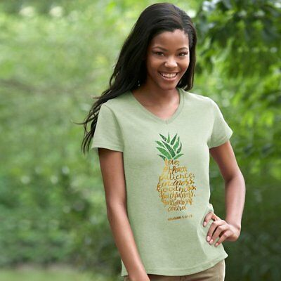 Womens Love Joy Peace Patience Pineapple V-Neck Graphic Top Size M, L, 2Xl