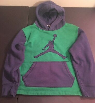 Lightly Used Youth Boys Nike Jordan Green & Navy Hoodie Size Large