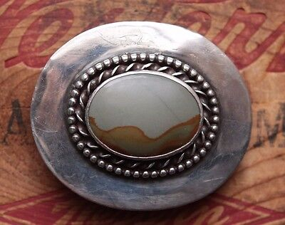 Vintage Hand Made Sterling Silver Canyon Jasper Stone Western Belt Buckle