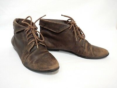 medieval-style lace-up leather boots - women's 7 - great for theater/reenacting!