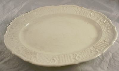 """Antique White Pottery Large 13 1/2"""" Wide Serving Platter Washington Colonial USA"""