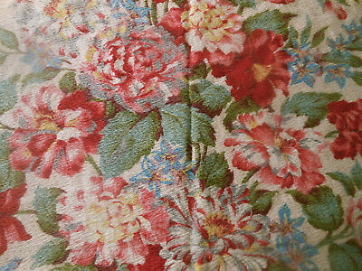 Antique Vtg. Roses Floral Barkcloth Cotton Fabric ~ Pink Red Aqua Blue Yellow