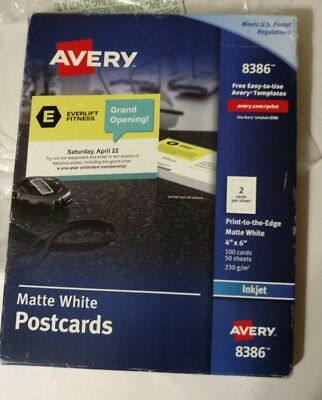 new 5 boxes 550 postcards avery 4 x 6 ink jet white post cards