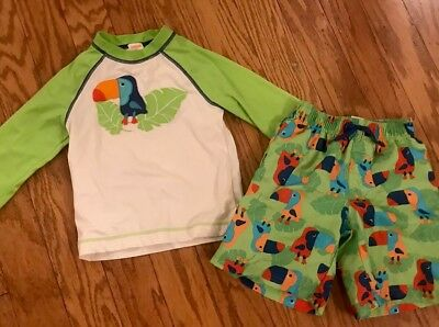 Gymboree Retail BOY'S swim trunks & rash guard Sz 5T Toucan rainforest Preowned