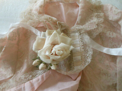 Vintage Soft Pink Shabby Romantic Lace Fabric Bed Jacket ~*