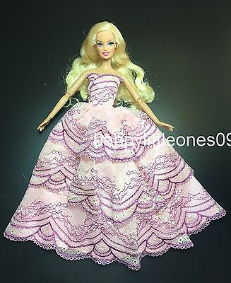 Barbie Doll Wedding Party Evening Dancing Dress/Clothes/Outfit Brand New Pink