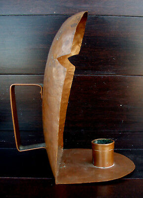 Antique Arts Crafts Mission Hammered Copper Candle Sconce Holder Hand Wrought