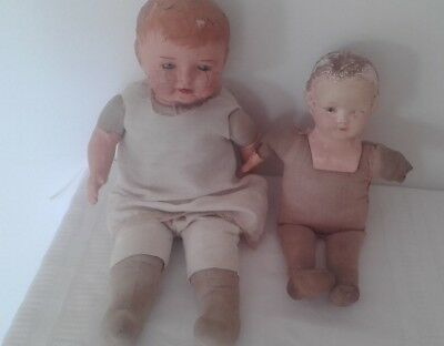 Antique composition dolls Regal-Effanbee cloth soft bodies need TLC 1920s